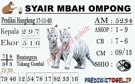 Syair Mbah Ompong HK Selasa 17 November 2020