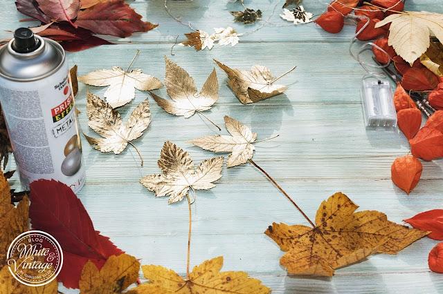 Goldene Herbstblätter für Herbstgirlande.