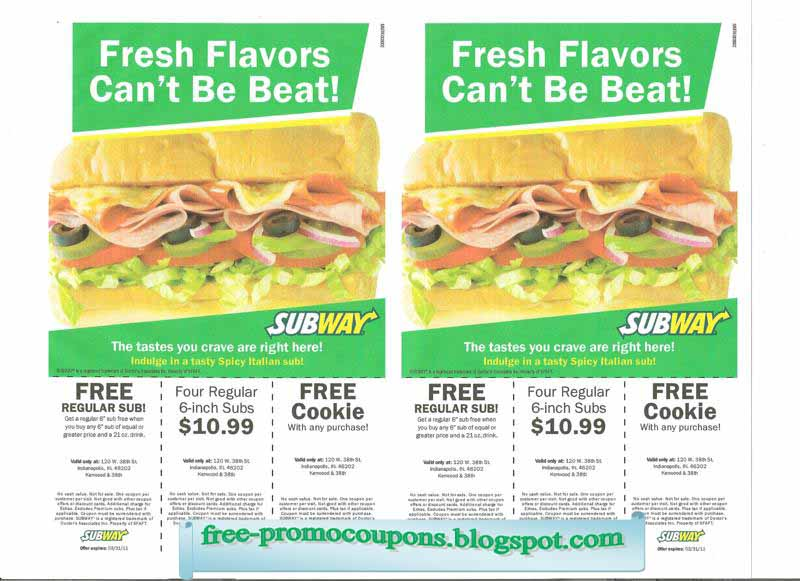 Subway coupons uk 2018