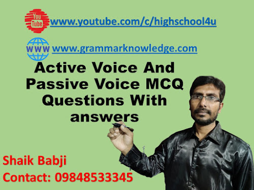 Active Voice And Passive Voice MCQ Questions