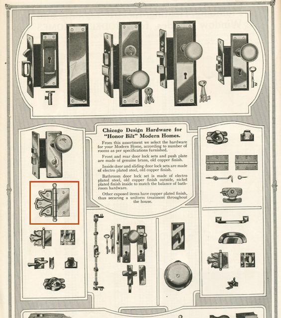 Chicago design hardware in Sears Modern Homes catalog 1920