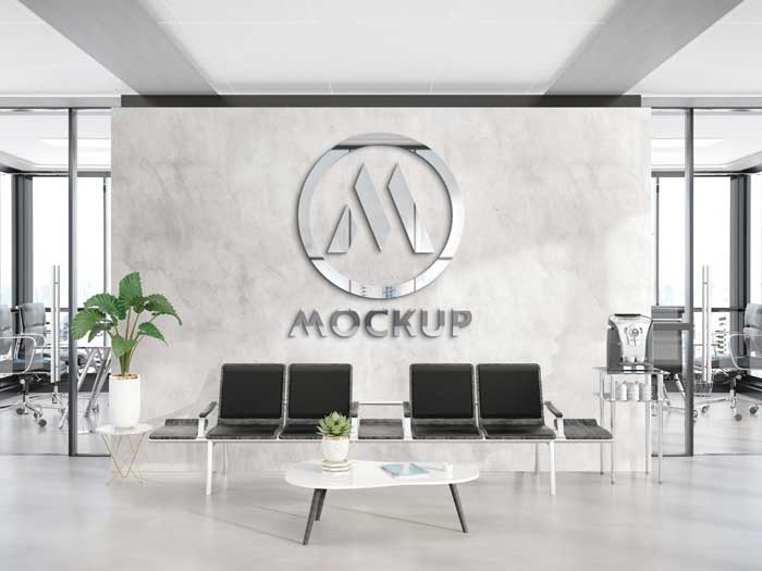 Reflective Office Wall Logo Mockup