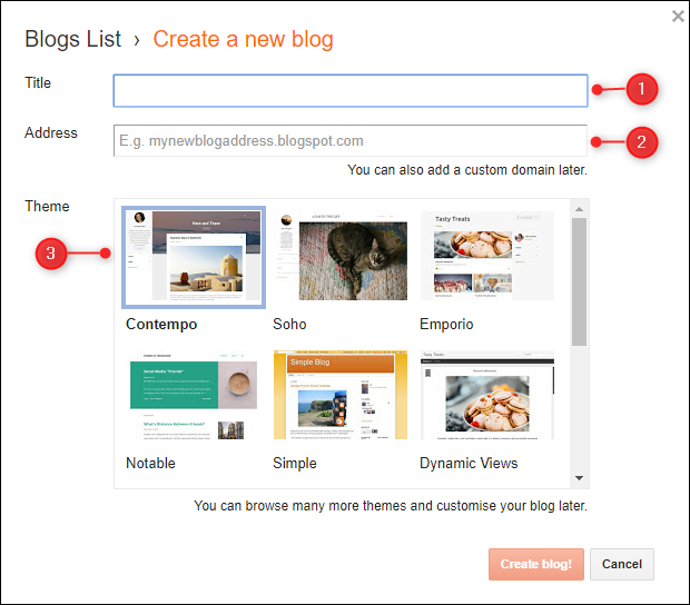 """لوحة """"إنشاء مدونة جديدة"""" مع تمييز حقول العنوان والعناوين."""