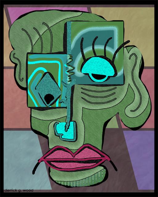 face human alien art profile surreal modern contemporary weird cute funny faces art drawing