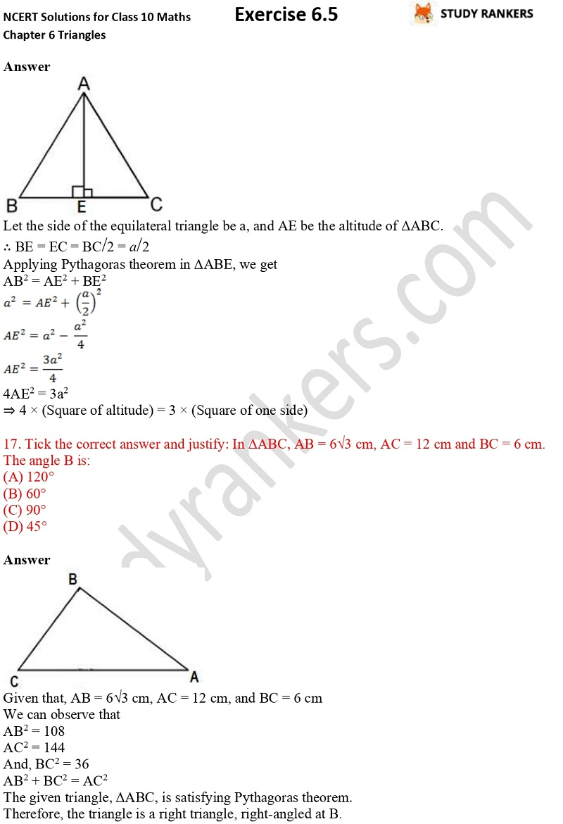 NCERT Solutions for Class 10 Maths Chapter 6 Triangles Exercise 6.5 Part 11