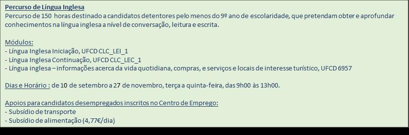 Porto – Percursos formativos certificados (Língua Inglesa e Segurança Alimentar)