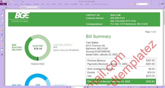 BGE ELECTRIC BILL- MD UTILITY BILL PDF TEMPLATE
