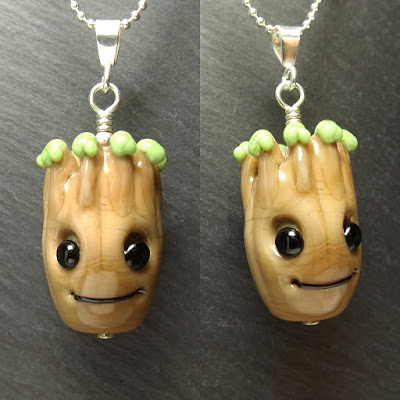 Lampwork glass 'I am Groot' necklace by Laura Sparling