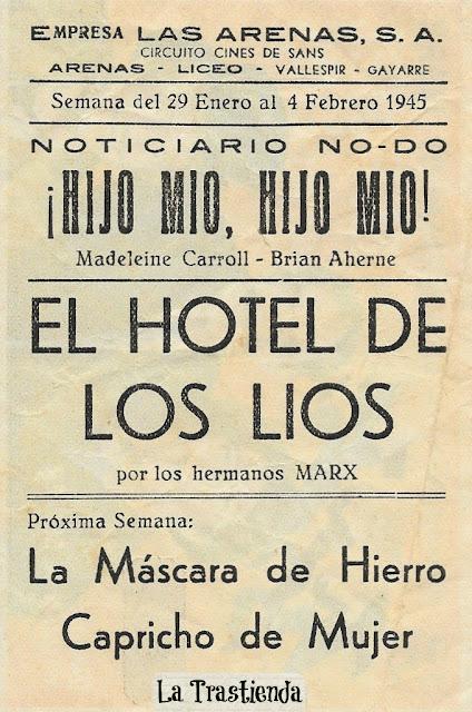 El Hotel de los Líos - Programa de cine - Los Hermanos Marx - Groucho - Harpo - Chico