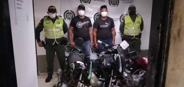 Dos capturados señalados de robo de motos en Piojó