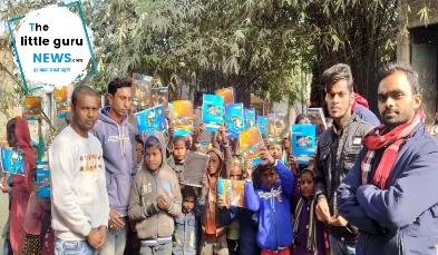 जयंती के अवसर पर महादलित बस्ती में पाठ्य पुस्तक एवं लेखन सामग्रियां वितरित