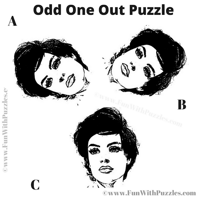 It is Odd One Out Face visual puzzle in which one has to find the odd face out