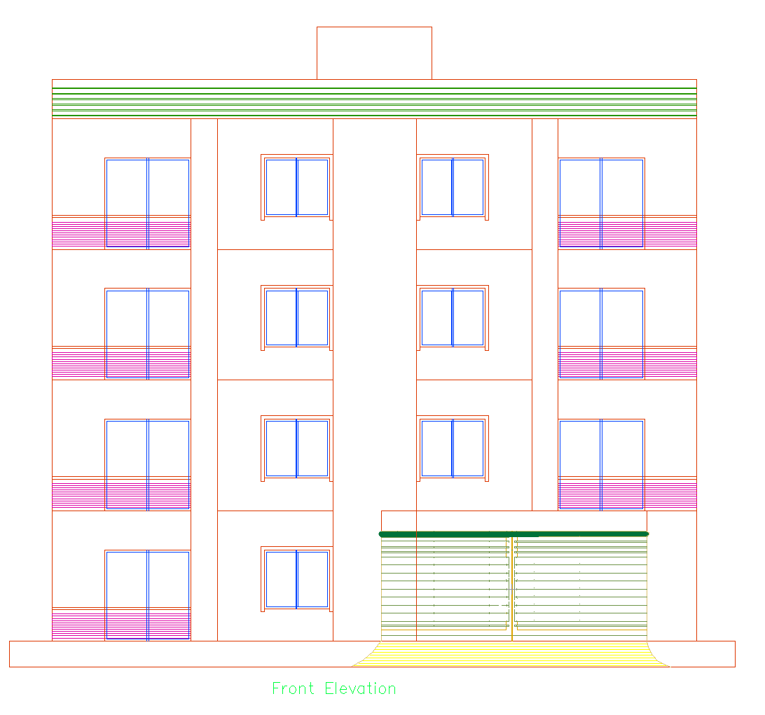 4 Story Apartment Building Plans Details With AutoCAD DWG