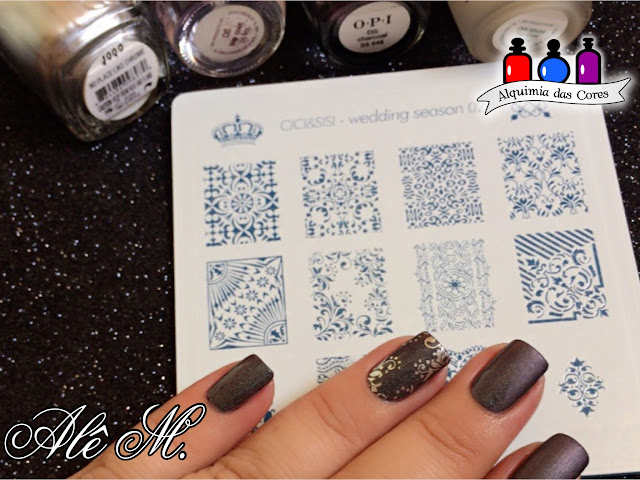 OPI DS Charcoal, Cici & Sisi wedding Season 02, Designer Series, Charcoal, Alê M., Essie, Mirror Metallics Collection, Silver, OPI Matte Top Coat, Matte, Multichrome, Grey, Green, Purple, no place like chrome, carimbado