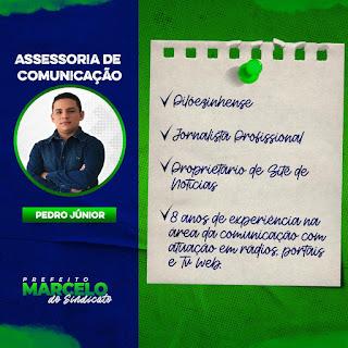 Prefeito eleito de Pilõezinhos Marcelo Matias, confirma o Radialista Pedro Junior para Assessoria de Comunicação (ASCOM), de sua administração a partiur de Janeiro de 2021
