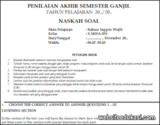 Soal Pas Bahasa Inggris Kelas 10 K13 Tahun 2020 2021 Websiteedukasi Com