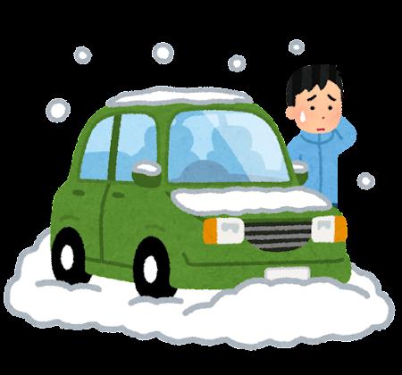 雪で立ち往生した車のイラスト(男性)