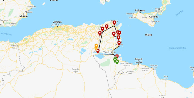 تونس : خريطة خط سير الرحلة لأسبوعين