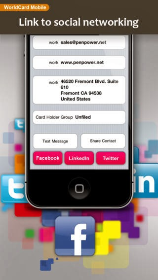 Iphone app for business cards getfiles worldcard mobile iphone app business card reader for iphone app for business cards reheart Choice Image