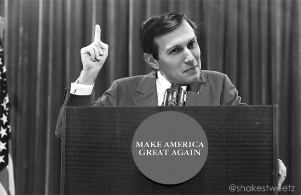 image of Jared Kushner's face photoshopped over Richard Nixon's in his iconic 'I am not a crook' moment; the presidential seal on the podium has also been replaced with a MAGA sticker