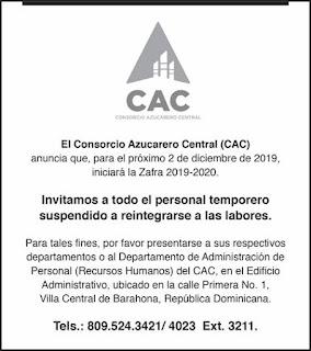 El CAC iniciarà el 2 de diciembre su zafra azucarera correspondiente al perìodo 2019-2020