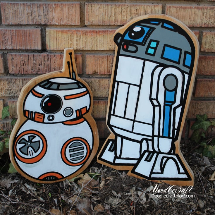 R2D2 and BB8 Wood cut outs made with Cricut cut vinyl mounted on wood cut outs, then painted with acrylic craft paint. Star Wars crafts are fun and easy!