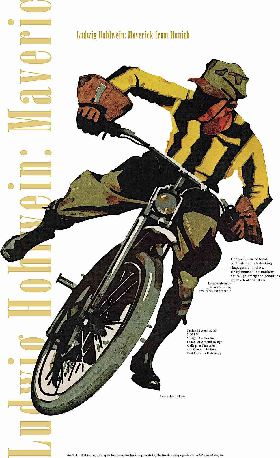 a Ludwig Hohlwein poster for a modern lecture on Ludwig Hohlwein, Maveric From Munich, image of a vintage motorcycle racer