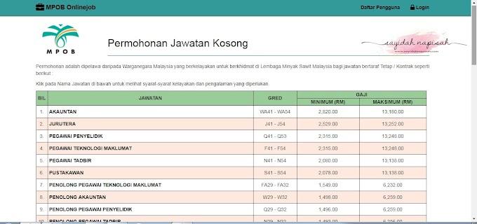 17 Jawatan Kosong MPOB (Malaysian Palm Oil Board)