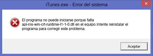 """Como solucionar el siguiente error """"falta api-ms-win-crt-runtime-l1-1-0.dll en el equipo"""" en windows"""