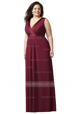 burgundy long plus size dress