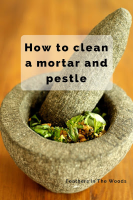 Directions for cleaning a mortar and pestle