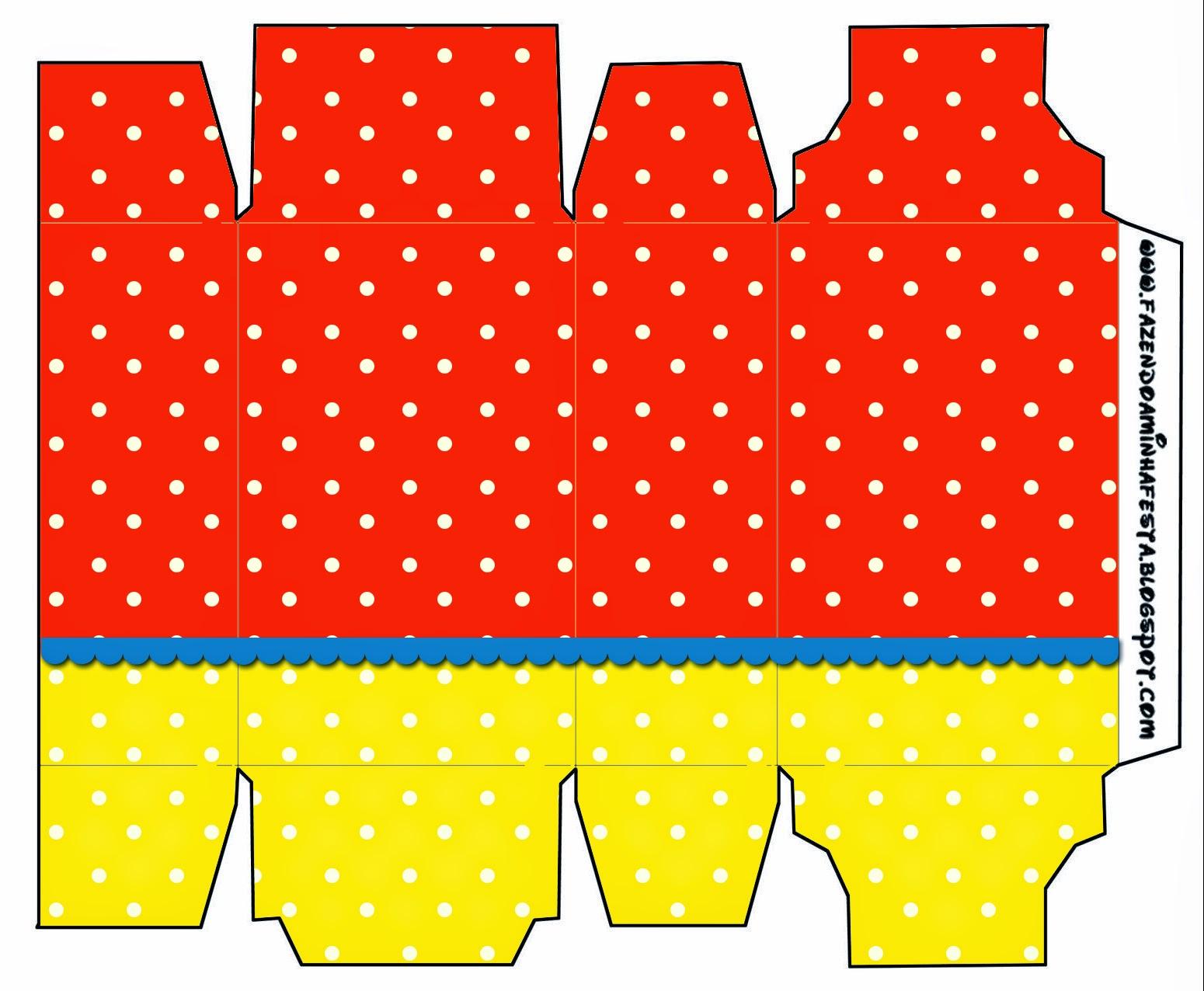 Cajas para Imprimir Gratis de Rojo, Amarillo y Lunares Blancos.