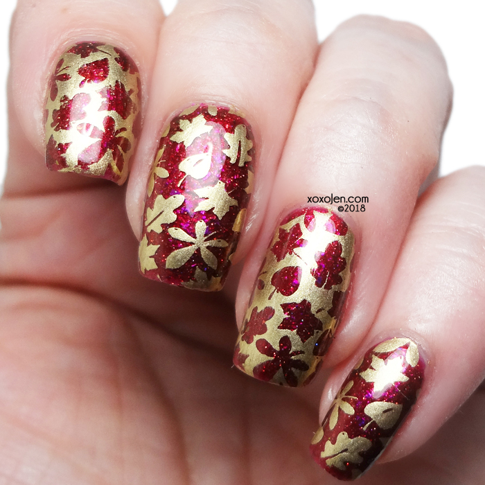 xoxoJen's swatch of Girly Bits Red Sky at Night Stamp Nail Art