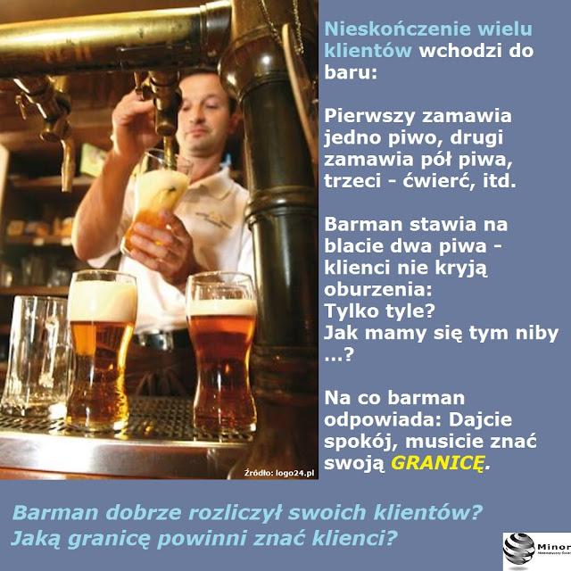 Nieskończenie wielu klientów wchodzi do baru. Pierwszy zamawia jedno piwo, drugi zamawia pół piwa, trzeci - ćwierć, itd. Barman stawia na blacie dwa piwa - klienci nie kryją oburzenia: Tylko tyle? Jak mamy się tym niby …? Na co barman odpowiada: Dajcie spokój, musicie znać swoją granicę. Barman dobrze rozliczył swoich klientów? Jaką granicę powinni znać klienci?