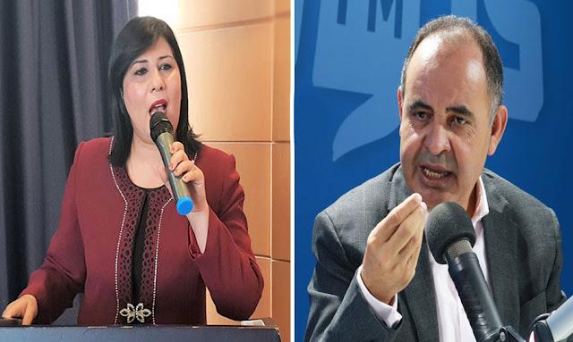 تونس - مكتب مجلس نواب : حالة من الفوضى ومبروك كورشيد يعتدي بالعنف على عبير موسي ويُسقطها أرضا