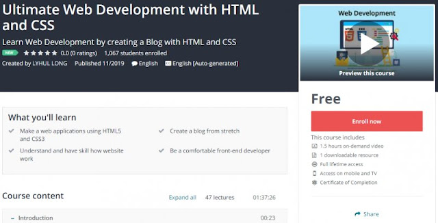 [100% Free] Ultimate Web Development with HTML and CSS