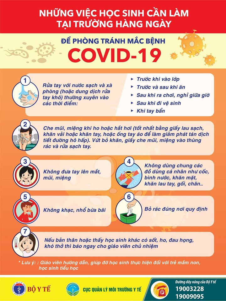 Học sinh ở trường cần làm gì để phòng chống COVID-19?