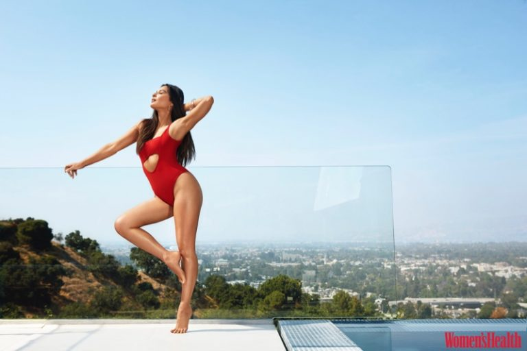 Olivia Munn poses in Moeva one-piece swimsuit