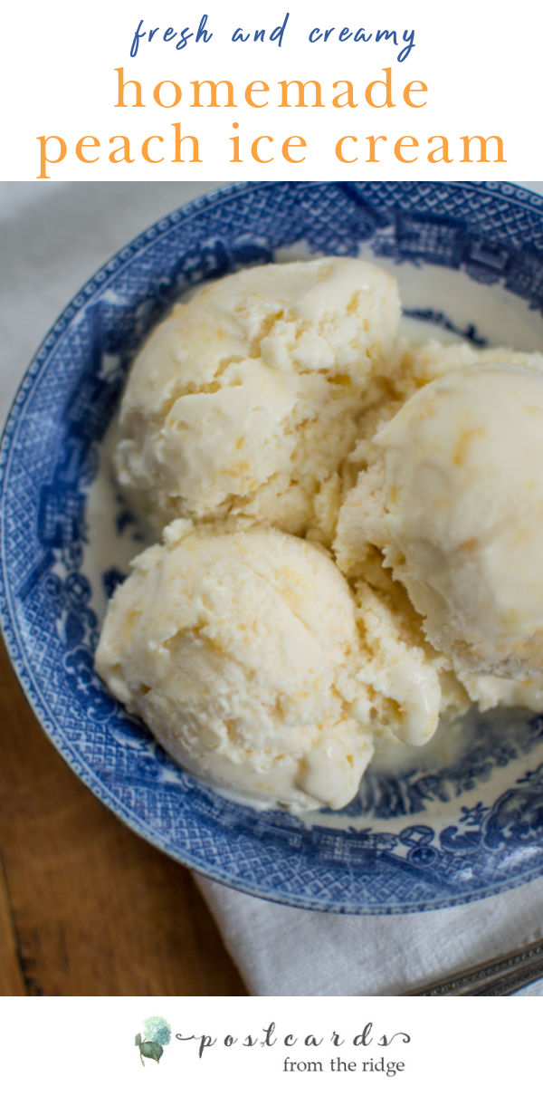 homemade peach ice cream in blue and white bowl