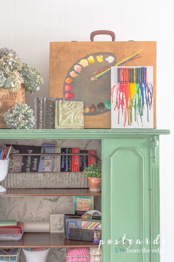 art and craft supplies organized with metal tool caddy