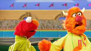 Elmo the Musical Athlete the Musical. Elmo and  Enormous Athlete. Sesame Street Episode 4420, Three Cheers for Us, Season 44