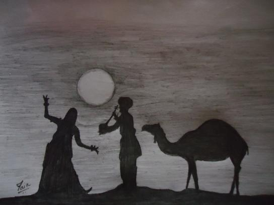 Rajasthan folk dance sketch