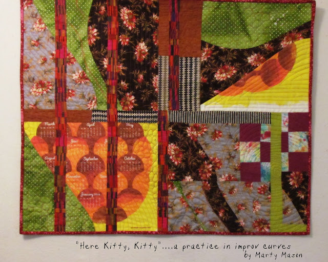 "Improv Curve Sampler Quilt .."".Here Kitty, Kitty"" by Marty Mason"