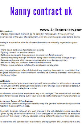 Nanny employment contract uk