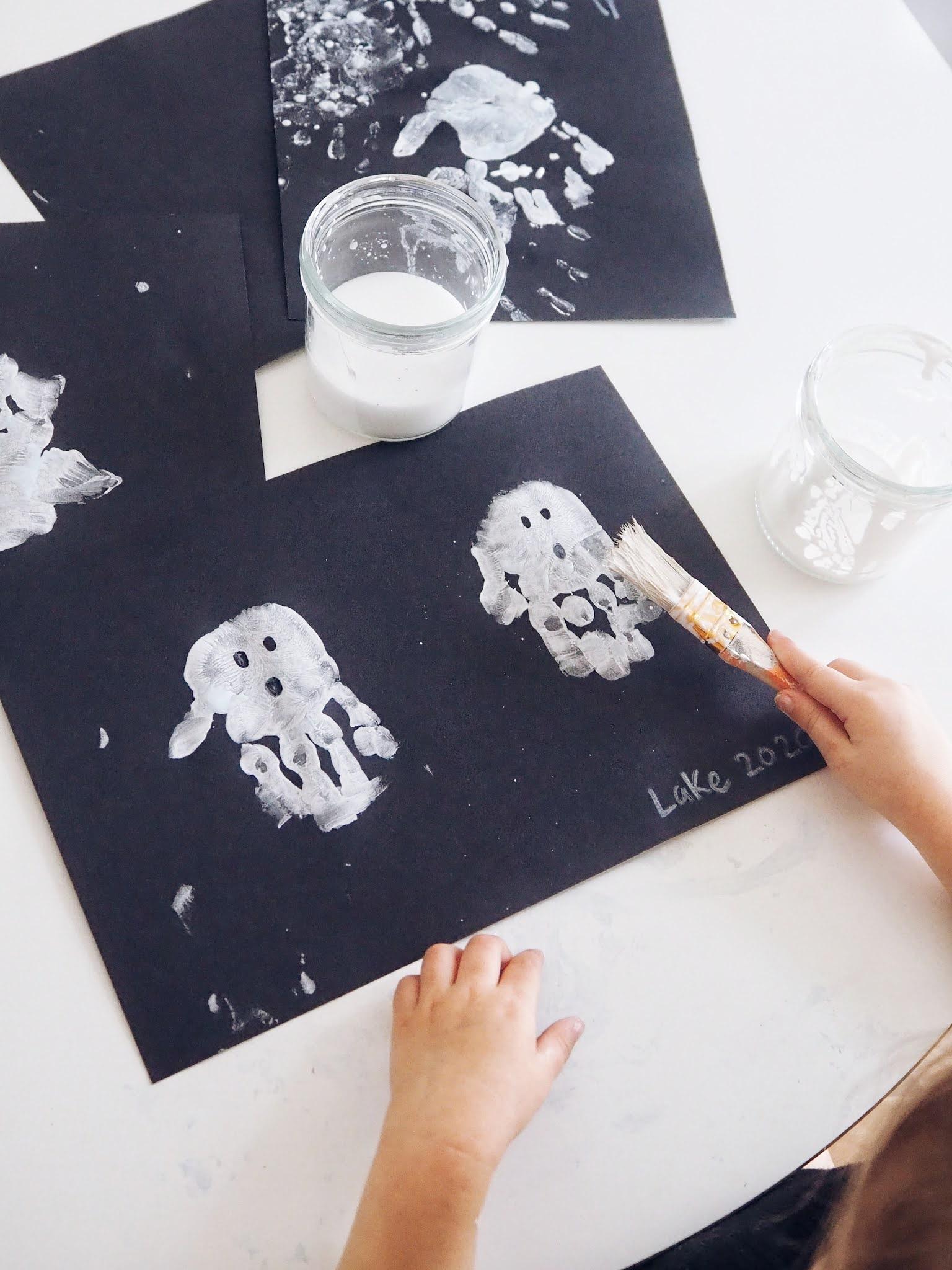 Halloween Hand print ghosts