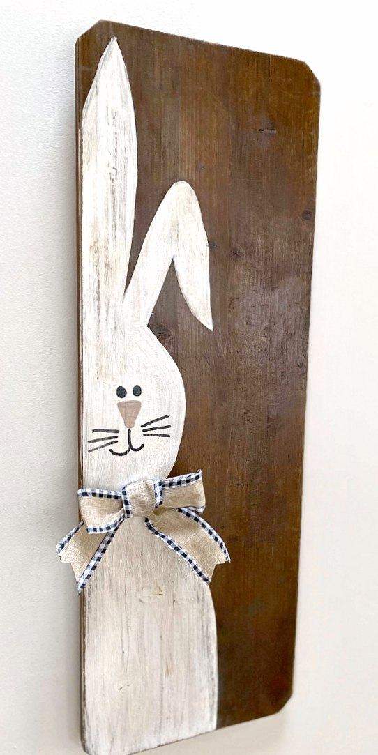 Repurposed Rustic Easter Bunny painted on wood