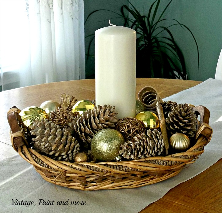 Vintage, Paint and more... bleached pine cones, gold ornaments and a thrift store basked make a beautiful table Christmas centerpiece