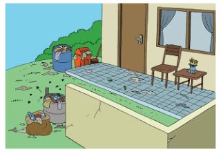 Di sekitar depan rumah tetanggamu banyak sampah juga kaleng bekas berisi air hujan www.simplenews.me