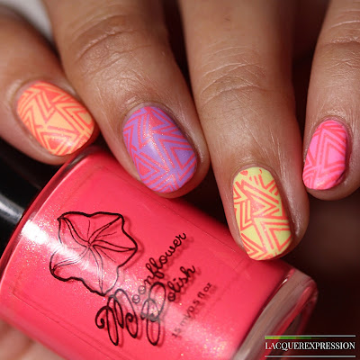 Stamping swatch of Moonflower Polish I Just Can't Wait stamped over pastel neon cremes for Polish Pick Up May 2018 PPU