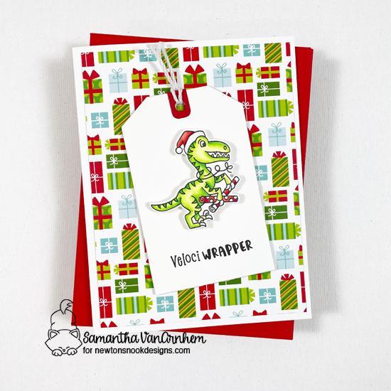 Dinosaur Christmas Card by Samantha VanArnhem | Prehistoric Christmas Stamp Set, Meowy Christmas Paper Pad, and Fancy Edges Tag Die Set by Newton's Nook Designs